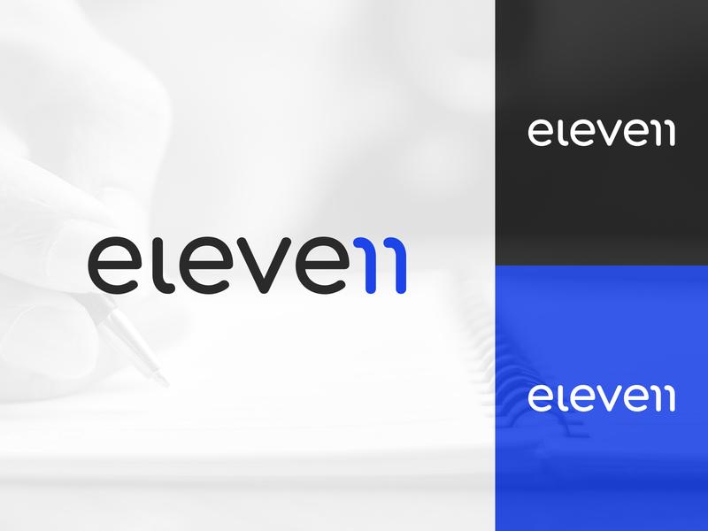 Eleven Writing Studios Logo Type Concept Design simple brand design brand identity modern technology tech logo branding local business logo logo designer minimal logotype writing service writing concept