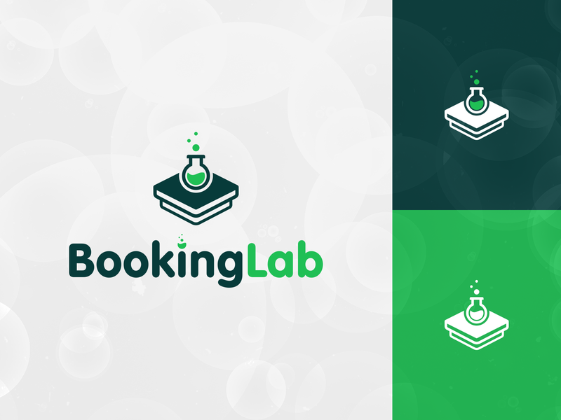 Booking Lab Logo Design Concept 2 (4) modern logo mark minimal tech logo books technology logo tech concept logo logo mark branding brand identity test tube bubbles lab