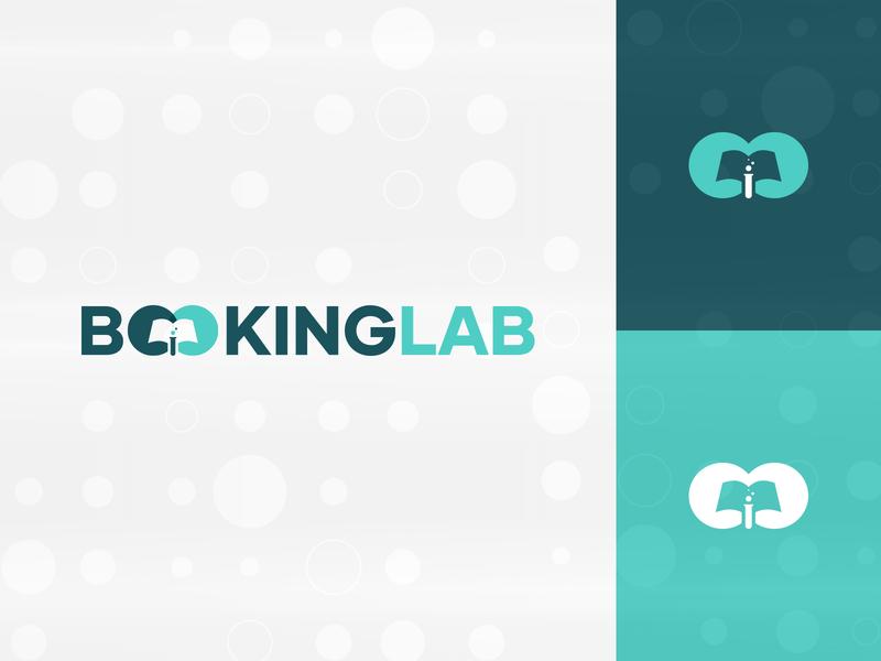 Booking Lab Logo Design Concept 4 (4) test tube technology logo tech logo tech modern logo minimal mark logo mark logo lab concept bubbles branding brand identity books