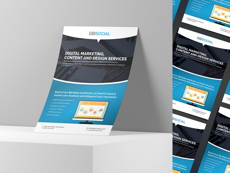 GoSocialPR A5 Flyer Print Design identity startup layout information design flyer artwork clean minimal branding brand identity print design printing print flyer design flyer a5 flyer