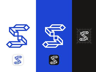 Architectural styled S Mark Logo Design Concept linework app icon graphic design construction architecture modern logo vector logo mark clean logo designer identity minimal brand identity logo branding