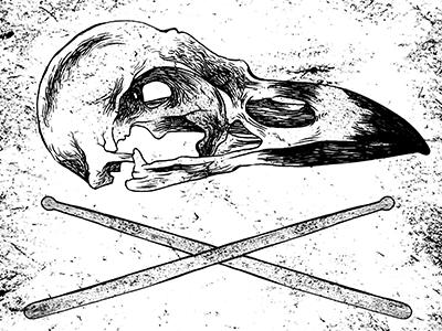 Bird Skull & Drum Sticks artwork metal sticks drum skull bird illustration ink