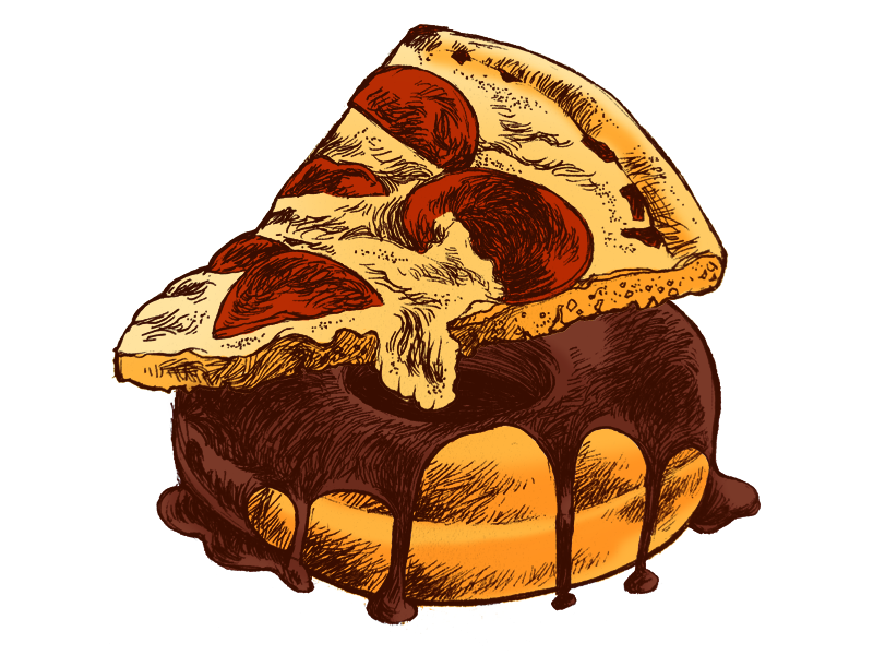 Junk Food illustration ink pizza donut food junk