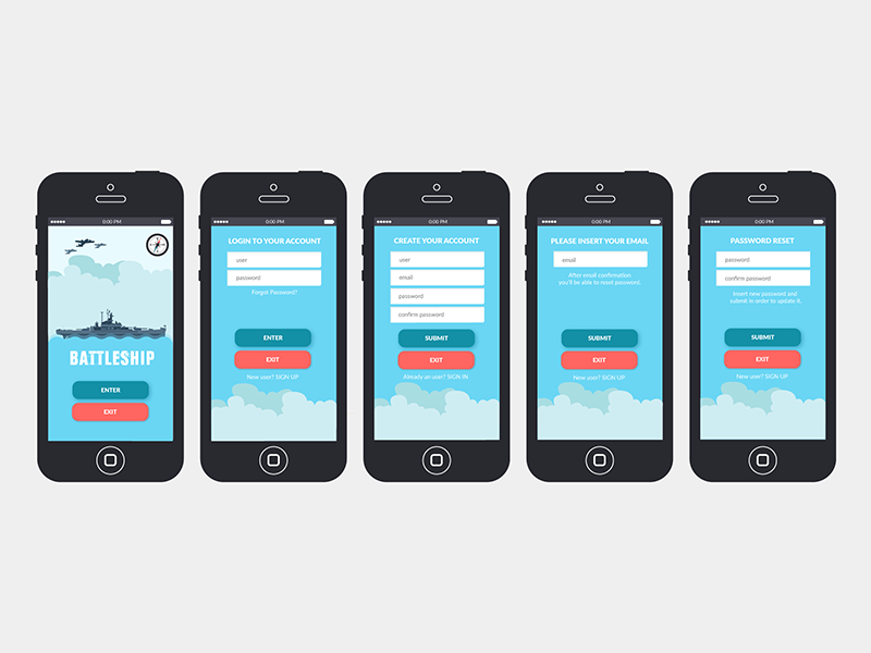 Battleship App UI & Illustration illustration ui app battleship