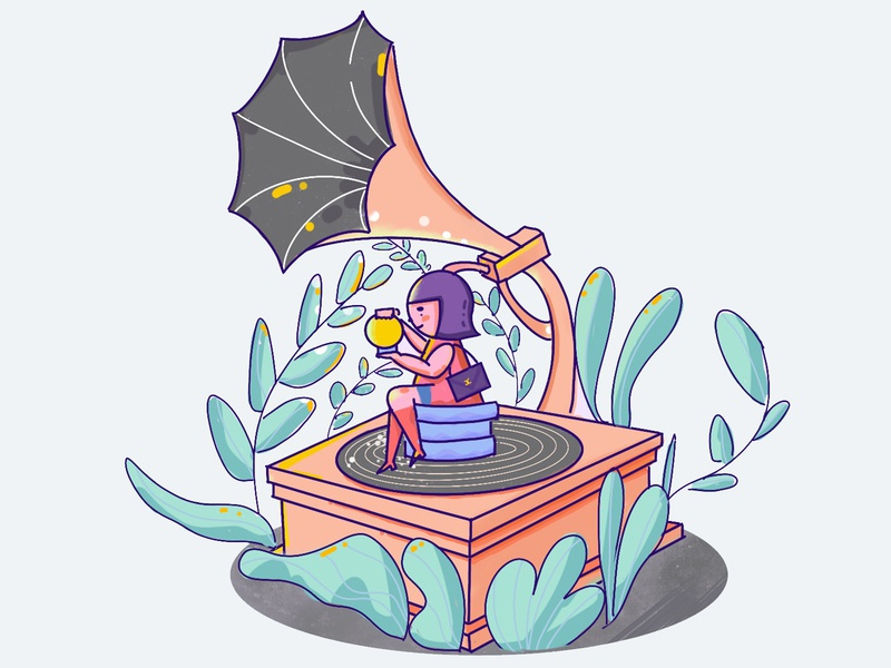 Chanel girl on music box design business illustration flat precreate ipad pro illustration