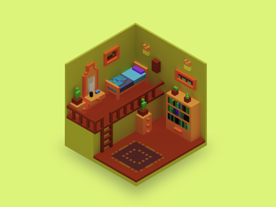 Low Poly Room room magica magica voxel magicavoxel isometric illustration isometric art isometric illustration 3d illustration yellow blender voxel art voxelart voxels voxel lowpolyart low poly lowpoly 3d art 3d