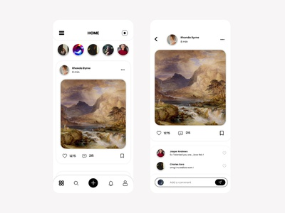 Art Gallery App - Home Screen UI sell buy shop art store painting grey home screen home page home social media social story share comment like white minimalism minimal adobe xd figma
