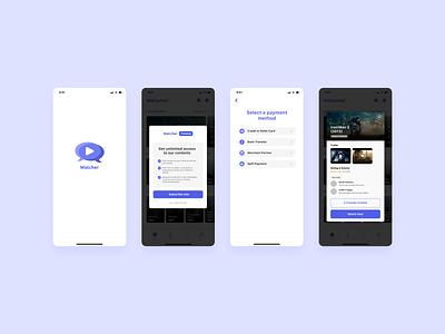 Watcher App - UX UI Design Concept clean ui purple uxui ux ui mobile app entertainment