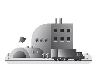 Moonspace - Simple Illustration illustrator moon factory space graphic design white gray black gradients illustration