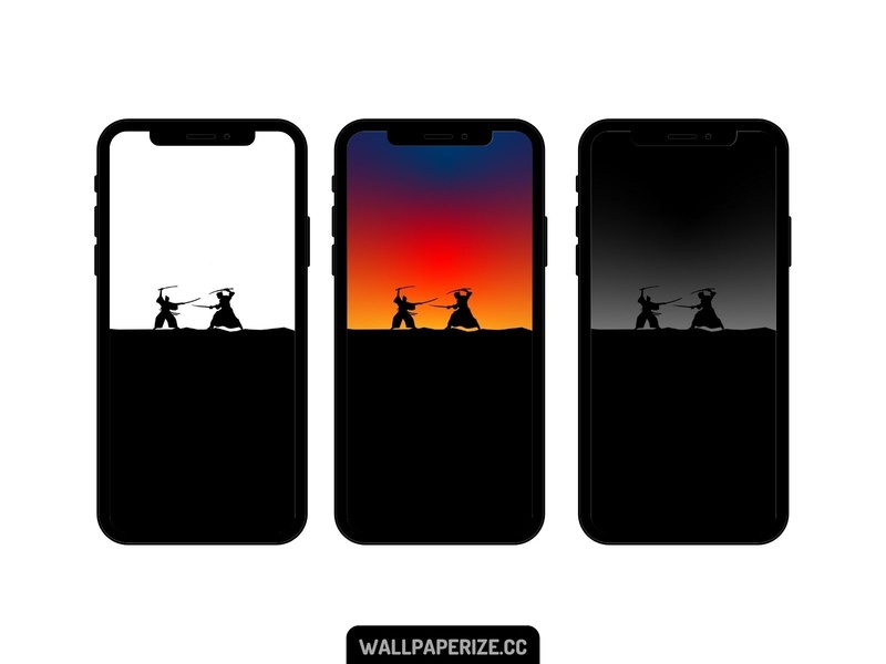 Minimalist iphone wallpapers - Samurai fight silhouette samurai gradient minimalism flat cool wallpapers minimal wallpaper design wallpaper mobile background