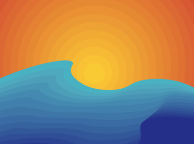 Minimalist sun and waves Desktop wallpaper waves sea sun sunset ocean summer gradient minimalism cool minimal flat wallpapers wallpaper design wallpaper background