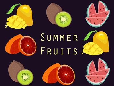 Summer Fruits flat icon mango orange watermelon kiwi summer fruits adobe illustrator illustrator adobe design illustration
