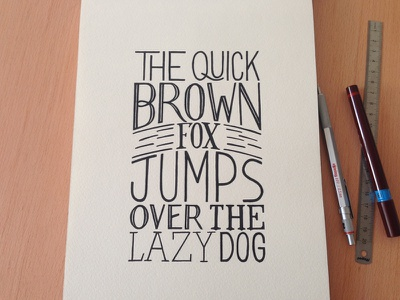 The quick brown fox serie, #9 dots stippling typography pointillism handmade rotring black and white ink fox hand lettering pangram prints