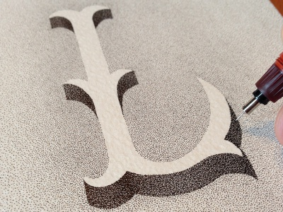 Letter L, trying white on black hand-lettering stippling lettering letters l dots rotring handmade typography artist