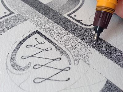 Ampersand details hand-lettering stippling lettering letters l dots rotring handmade typography artist ampersand