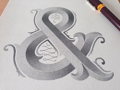 AMPERSAND hand-lettering stippling lettering letters l dots rotring handmade typography artist ampersand