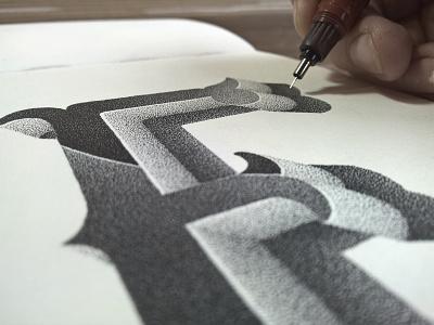 Alphabet series handlettering stippling pointillism alphabet lettering typography typographie ink illustration
