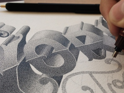 Work, in progress handlettering stippling pointillism lettering typography typographie ink illustration