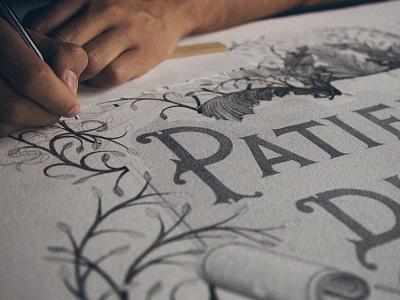 Patience & Discipline handlettering stippling pointillism lettering typography typographie ink illustration
