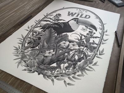 Into the wild typography handlettering stippling illustration ink black and white vegetal toucan bird letters