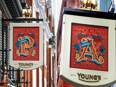 Prince Alfred Pub Sign london medals royal pub sign alfred prince typogaphy type vector lettering artist lettering pub signage design signage sign design portrait typography drawing illustration