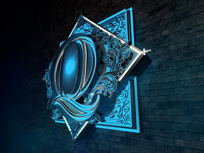 Greg Coulton X Adam Robinson 'Q' neon sign neon 3d art 3d signage sign lettering design typography logo typography art typography vector illustration vector art vector illustration