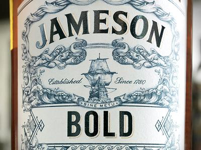 Jameson Bold ship waves deconstructed bold spirits packaging whiskey jameson pencil pen illustration hand drawn