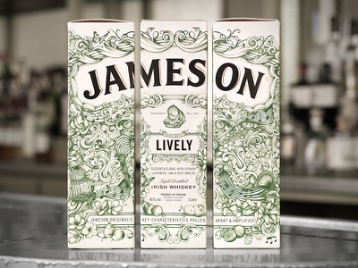 Jameson Lively ship flowers deconstructed lively spirits packaging whiskey jameson pencil pen illustration hand drawn