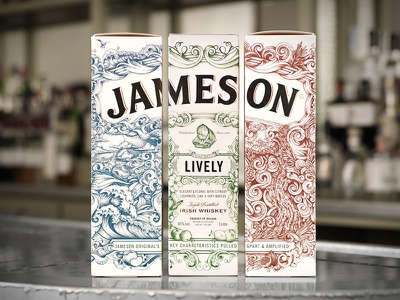 Jameson Deconstructed Series Packaging ship deconstructed spirits packaging whiskey pencil pen illustration hand drawn jameson