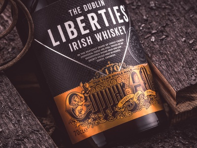 Copper Alley bottle 10 year single malt cherub wings hair dublin irish whiskey hand drawn design typography illustration