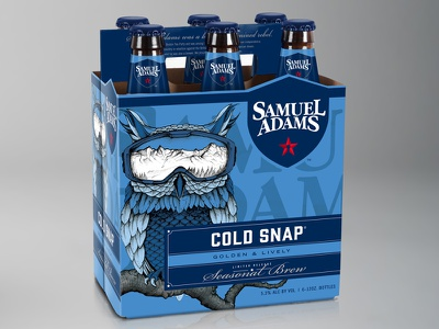 Samuel Adams_Cold Snap boston winter usa ski owl pencil packaging bottle beer hand drawn