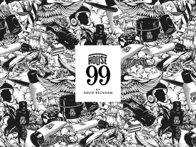 House 99 By David Beckham tattoo art tattoos branding design branding illustrator vector illustration vector cosmetics beckham design detail packaging drawing black and white pencil pen hand drawn illustration