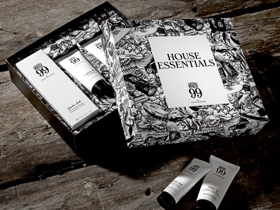 House 99 Gift Set male grooming cosmetics gift set packaging design detail packaging drawing black and white pencil pen hand drawn illustration