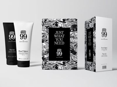 House 99 Products pattern beckham tattoo product design packaging design detail packaging black and white pencil pen hand drawn illustration