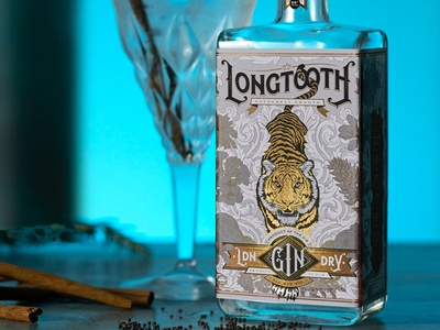 Longtooth London Dry Gin typography detail tiger logo logotype logo design logo lettering packaging design packaging alcohol branding alcohol gin conservation wwf tiger vector illustration vector art vector hand drawn illustration