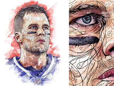 1-day portrait 'Tom Brady' watercolour watercolor face eyes hand drawn detail pencil pen editorial illustration editorial art drawing portrait illustration superbowl new england patriots quarterback goat nfl tom brady
