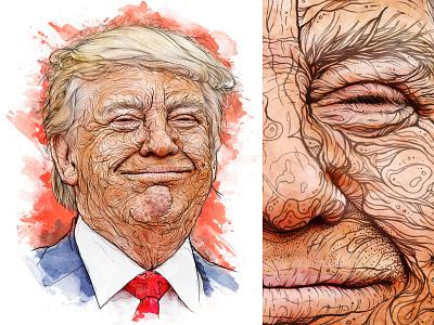 1-day portrait 'Donald Trump' editorial portrait skin eyes face detail drawing pencil pen hand drawn illustration senate republican democrat white house usa president potus hair donald trump
