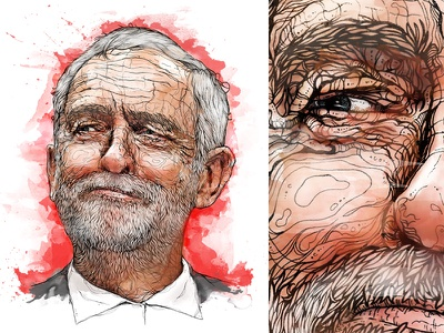 1-day portrait 'Jeremy Corbyn' lines brexit labour london parliament uk politics editorial illustration editorial beard face portrait eyes detail drawing pencil pen hand drawn illustration