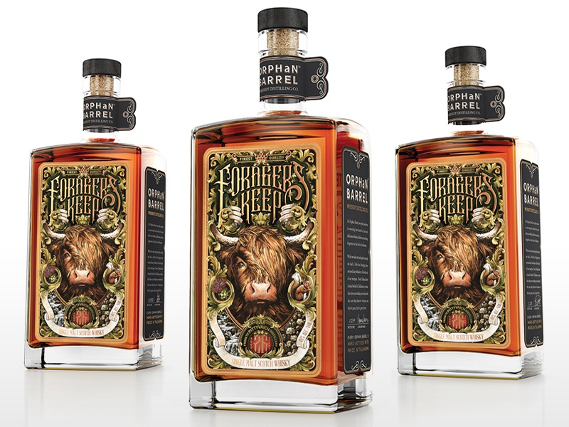 Forager's Keep by Orphan Barrel Whiskey Co. label packaging lettering limited edition rare detail intricate single malt whisky whiskey and branding packaging design labeldesign label design bottle packaging typography drawing pen hand drawn illustration