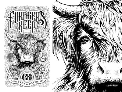 Forager's Keep whisky label_Final Art scottish highland cow vector wip packaging design design lettering spirits hair whiskey bottle packaging detail black and white typography drawing pen hand drawn illustration