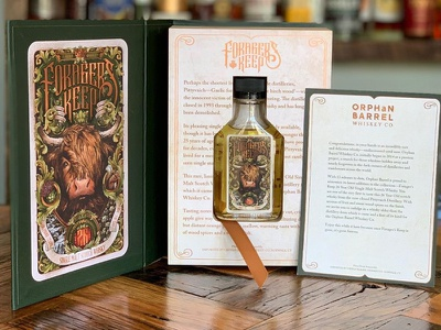 Forager's Keep Secret Book scottish whisky whiskey and branding intricate detail secret book club book packaging design branding whiskey design logo bottle packaging typography drawing pen hand drawn illustration