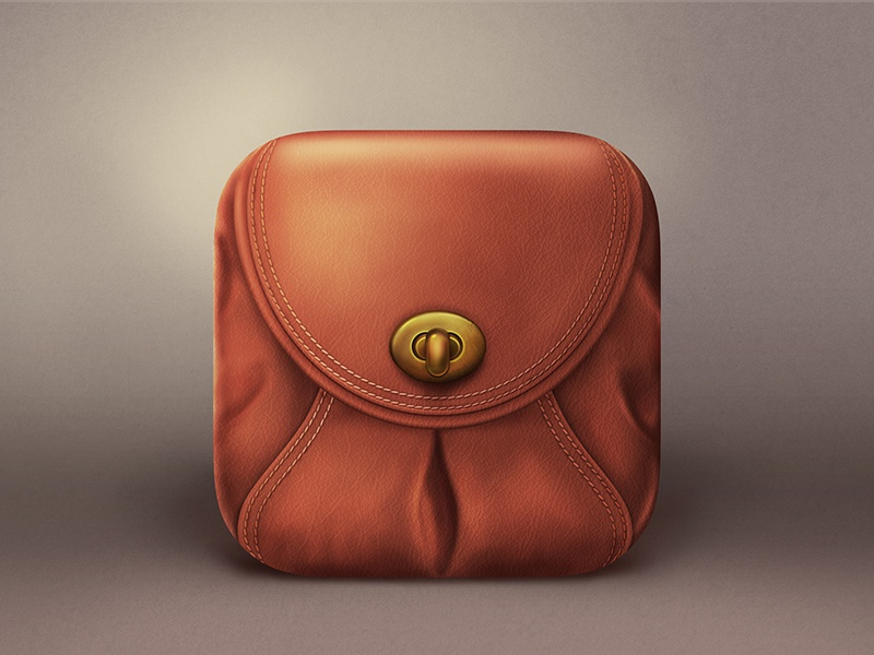 Brown bag Icon realistic icon ios bag