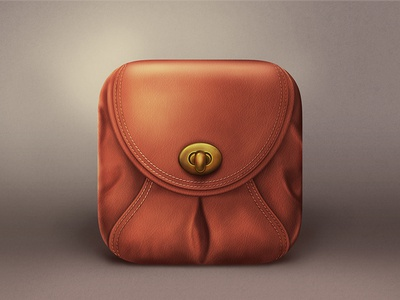 Brown bag Icon realistic icon ios bag
