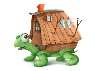 Turtle turtle house photoshop illustration character