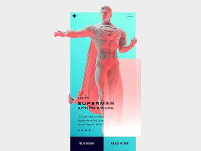 Action Figure uix render cloth design minimal custom buy figure comics dc marvel aquaman concept web ui motion graphic c4d action figure action figures superman