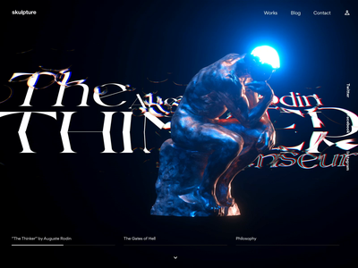 The Thinker by Auguste Rodin uix ball motion graphic experimental megascans quixel motion animation web header banner octane c4d rodin auguste thinker the thinker