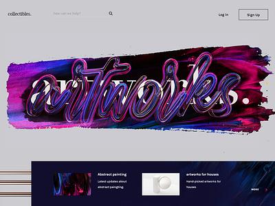 artworks. header typogaphy purple brush type lettering c4d