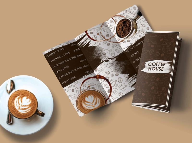 Trifold brochure (self project). coffee brochure design design indesign photoshop graphic design creative designer
