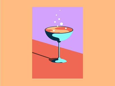 Cocktail time bubbles colourful drink cocktails shapes graphic design illustration simple