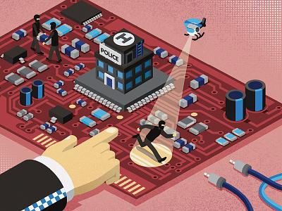 Fighting Fraud circuit police crime fraud report raconteur print newspaper illustration cover